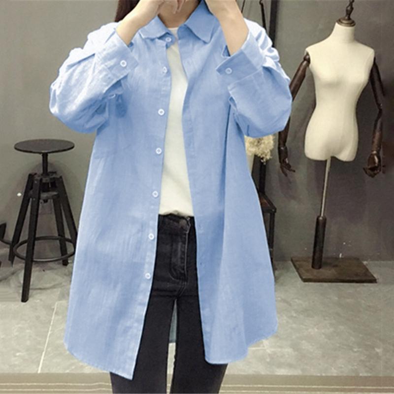 1X-Blusa-de-lino-de-algodon-suelta-informal-de-mujer-Chauqeta-camisa-de-man-X8C6 miniatura 13