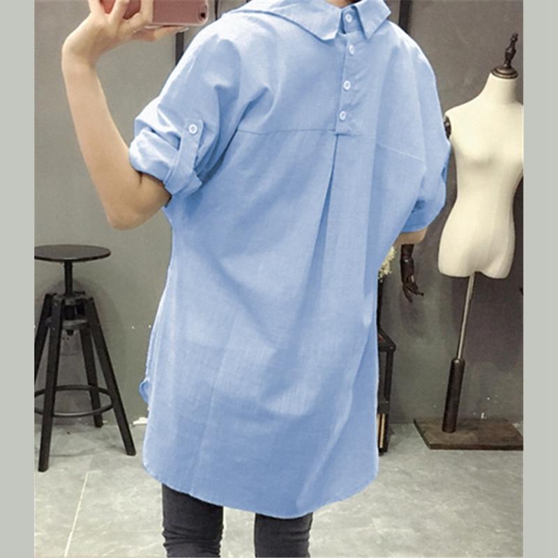 1X-Blusa-de-lino-de-algodon-suelta-informal-de-mujer-Chauqeta-camisa-de-man-X8C6 miniatura 14
