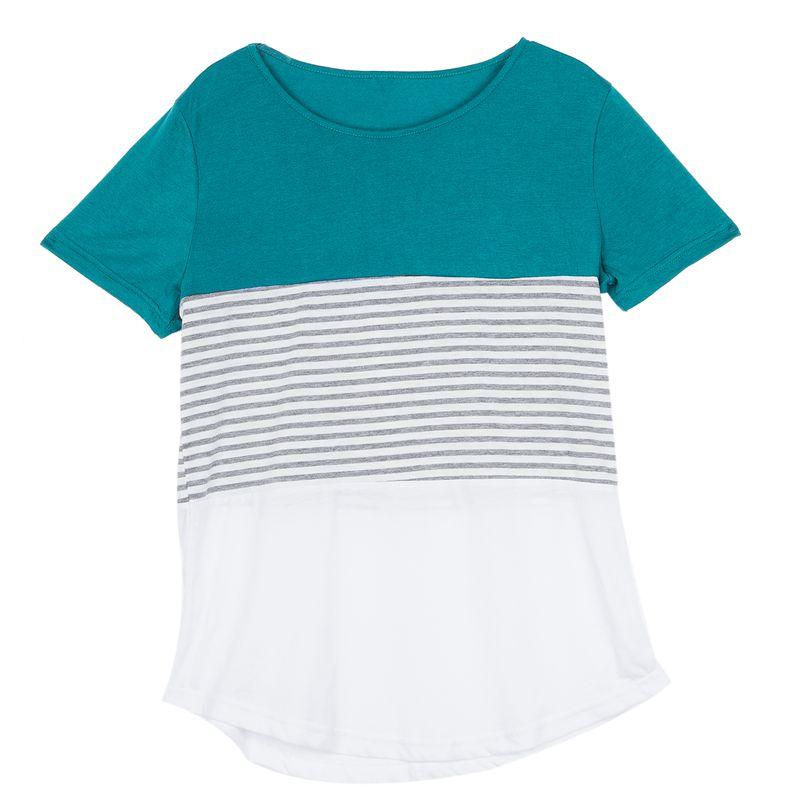 Camiseta-De-Manga-Corta-A-Rayas-Para-Mujer-Chaqueta-Informal-X1L9 miniatura 14