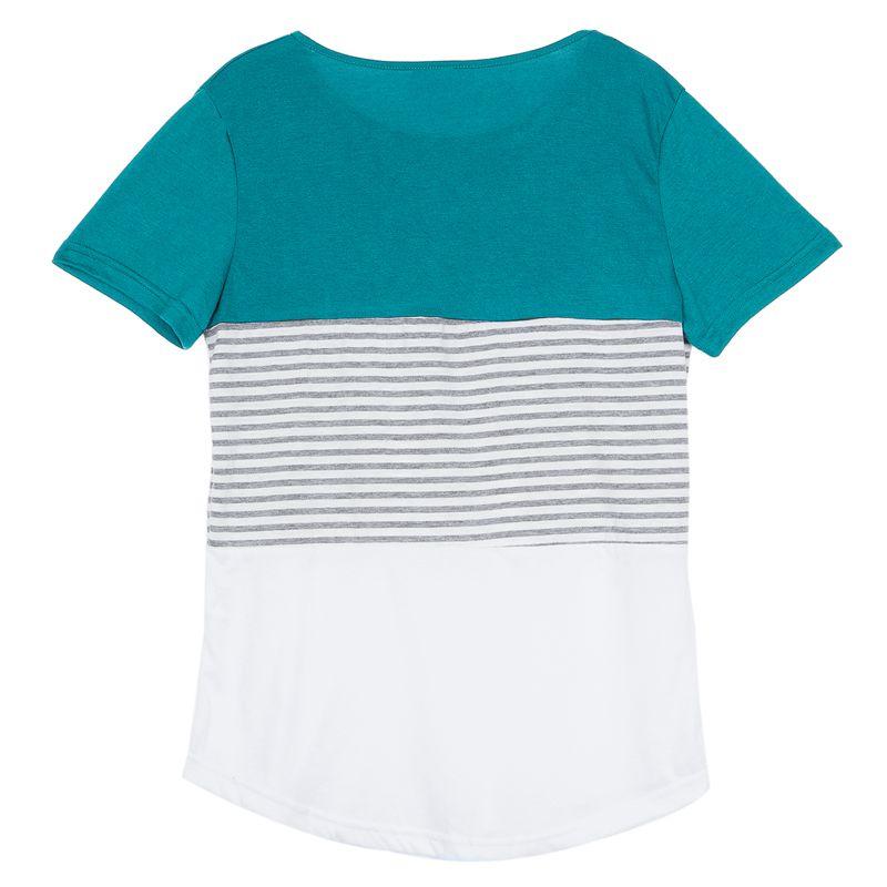 Camiseta-De-Manga-Corta-A-Rayas-Para-Mujer-Chaqueta-Informal-X1L9 miniatura 15