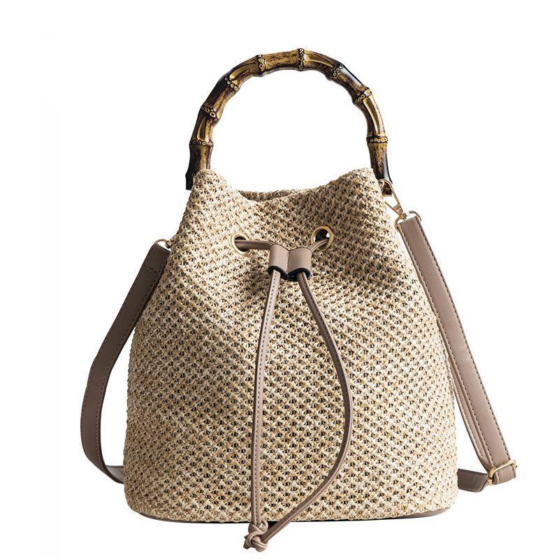New Drawstring Women s Straw Bucket Bag Summer Woven Shoulder Bags Shopping  V8Y2 30a27eb784