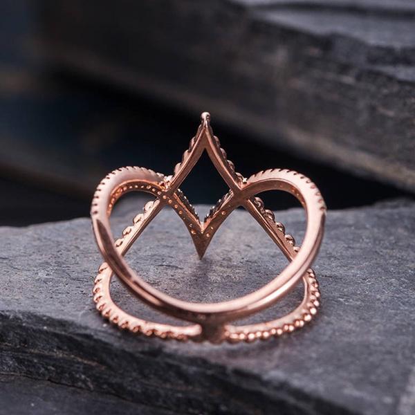 Fashion-ladies-rose-gold-and-diamond-ring-V-shaped-cross-ring-B1H4