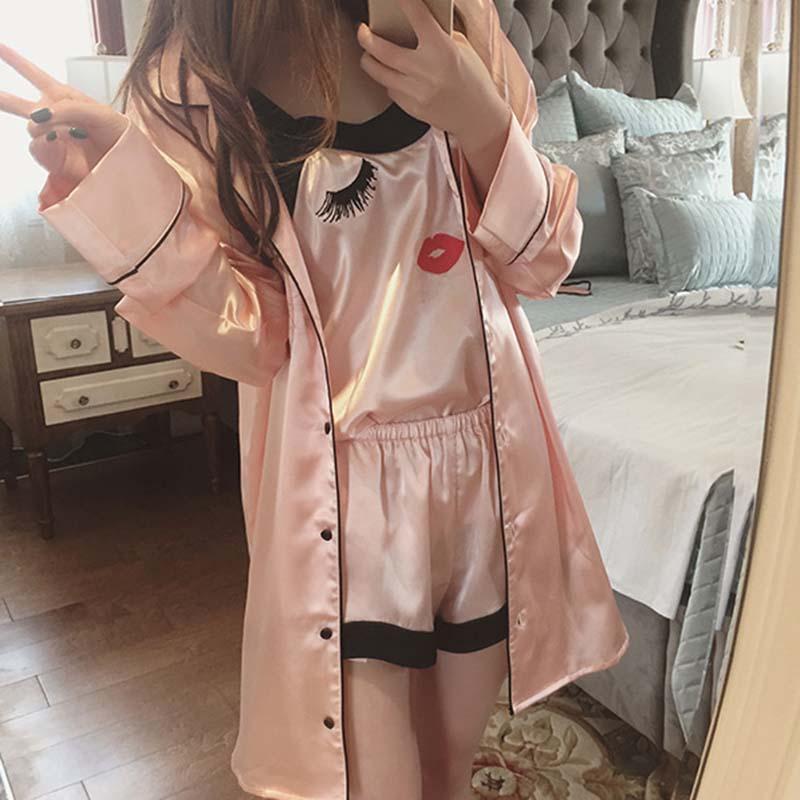 15b5a3126a Women Sling Pajamas Sexy Silk Nightgown Long-sleeved Silk Female ...