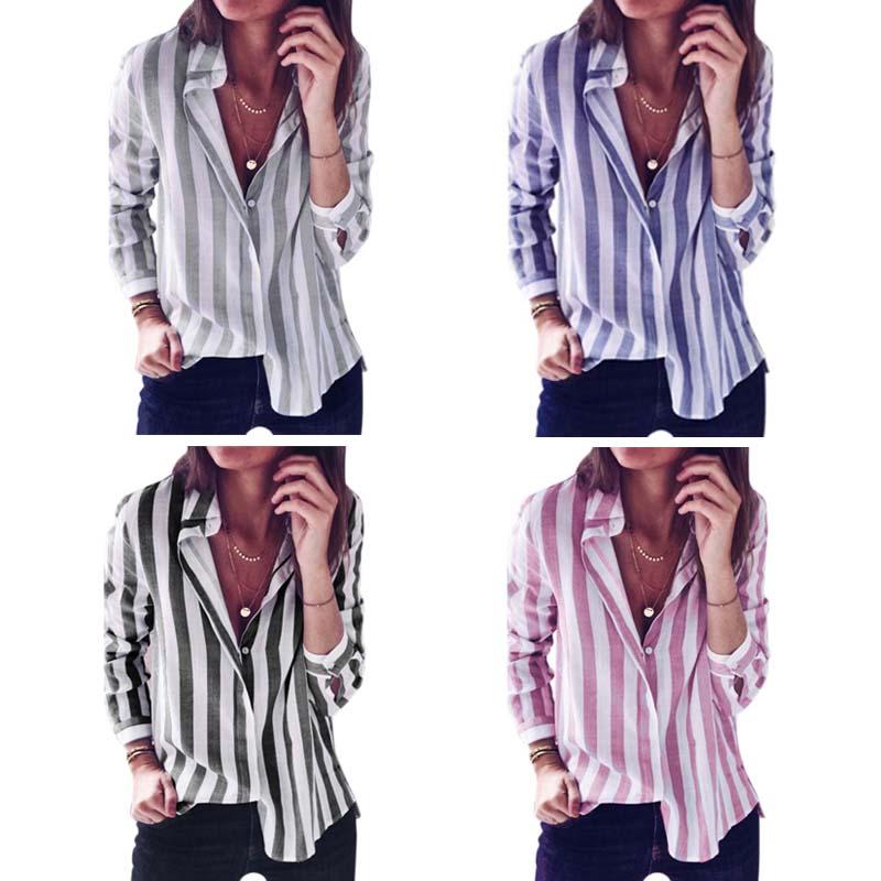 new style a3fd5 13ccf 5X(Camicetta delle camicie di lino casual da donna a manica lunga a righe a  K6R3 | eBay