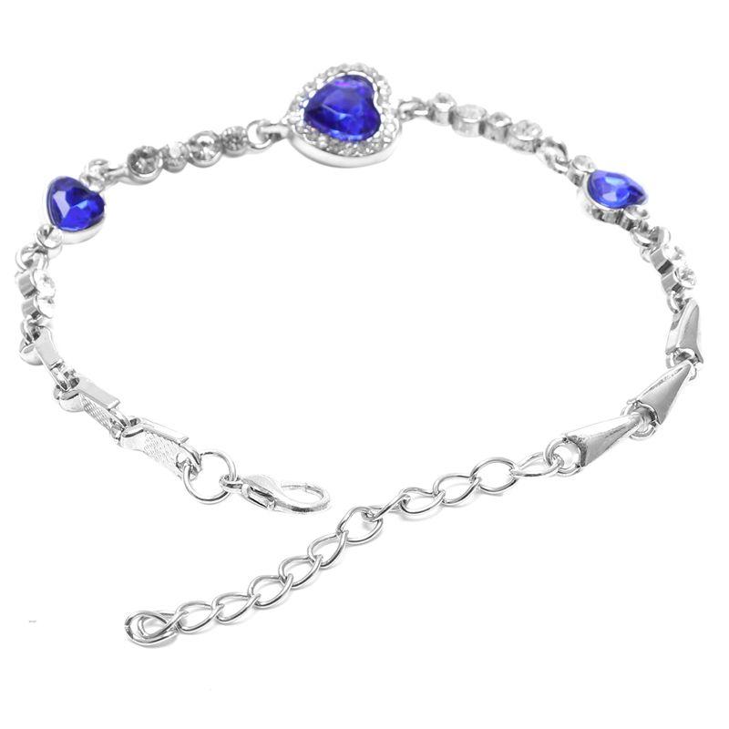 Hot-Lady-Crystal-Rhinestone-Bracelet-Sea-Blue-Bangle-Chain-Heart-Jewelry-K7C-S2P thumbnail 2