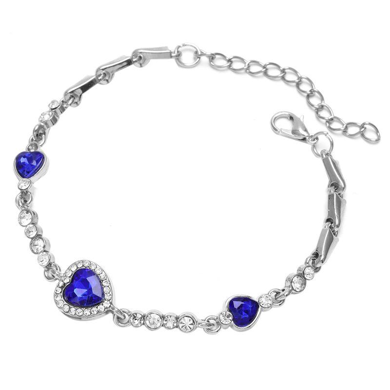Hot-Lady-Crystal-Rhinestone-Bracelet-Sea-Blue-Bangle-Chain-Heart-Jewelry-K7C-S2P thumbnail 3
