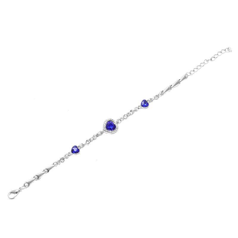 Hot-Lady-Crystal-Rhinestone-Bracelet-Sea-Blue-Bangle-Chain-Heart-Jewelry-K7C-S2P thumbnail 5