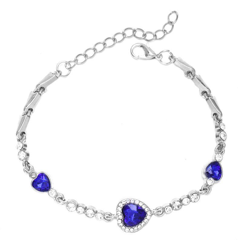 Hot-Lady-Crystal-Rhinestone-Bracelet-Sea-Blue-Bangle-Chain-Heart-Jewelry-K7C-S2P