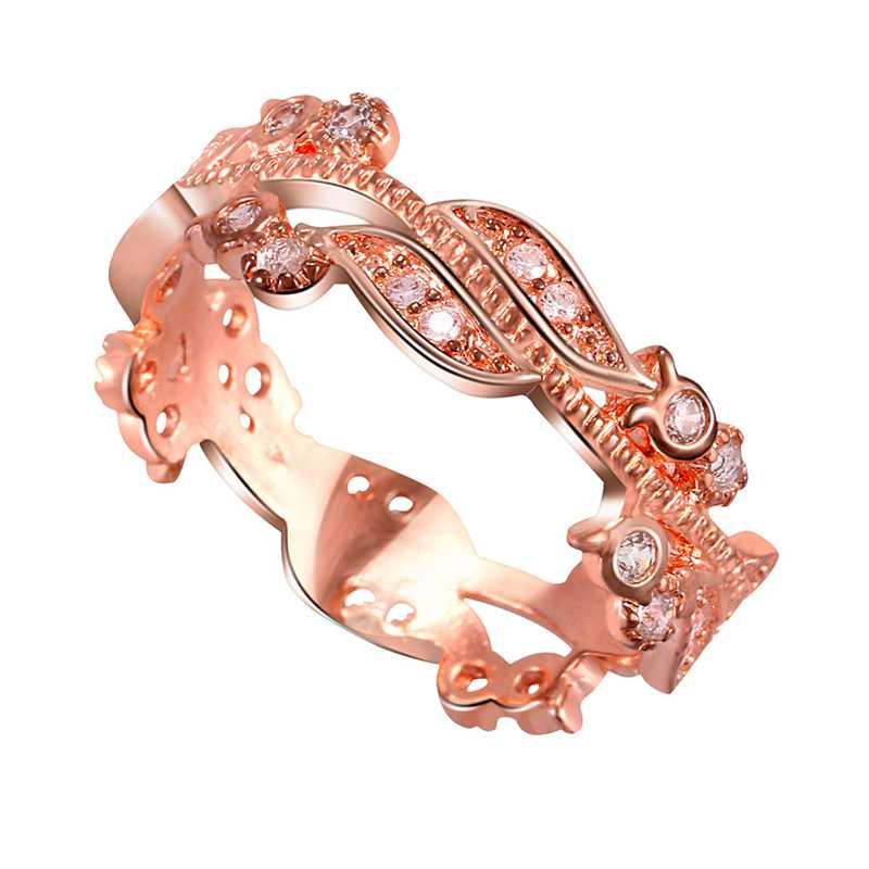 5X-Anillo-floral-de-oro-rosa-macizo-exquisito-para-mujer-Joya-de-coctel-hojW4B5 miniatura 4