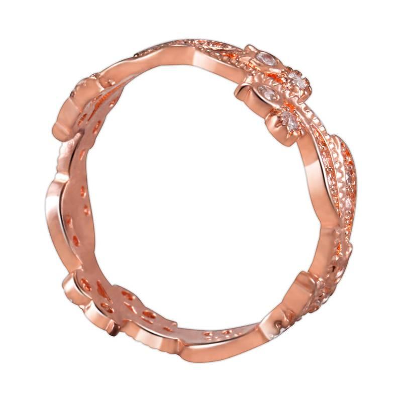 1X-Anillo-floral-de-oro-rosa-macizo-exquisito-para-mujer-Joya-de-coctel-hojN5E7 miniatura 5