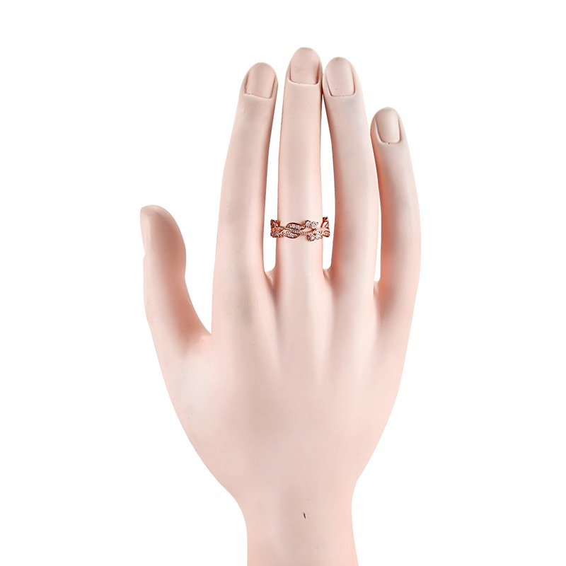 5X-Anillo-floral-de-oro-rosa-macizo-exquisito-para-mujer-Joya-de-coctel-hojW4B5 miniatura 7