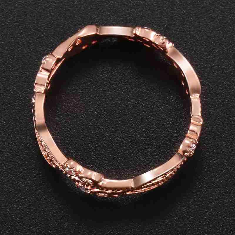 1X-Anillo-floral-de-oro-rosa-macizo-exquisito-para-mujer-Joya-de-coctel-hojN5E7 miniatura 8