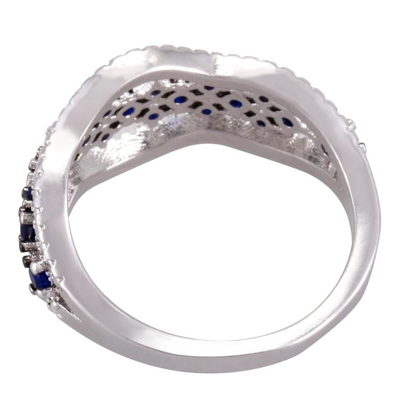 Anillo-exquisito-Joyas-de-diamante-de-zafiro-azul-hueco-Fiesta-de-compromis-S7O7 miniatura 6