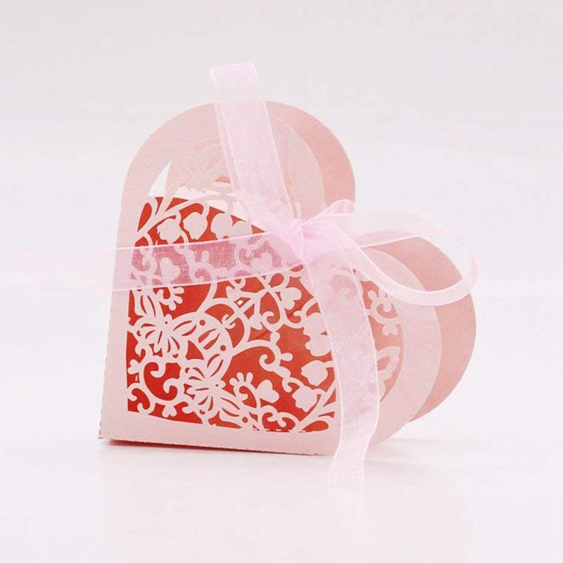 Lot-de-20-Boite-a-Dragees-Coeur-Bonbonniere-en-Papier-Boite-Cadeau-pour-Fet-H9R9 miniature 5