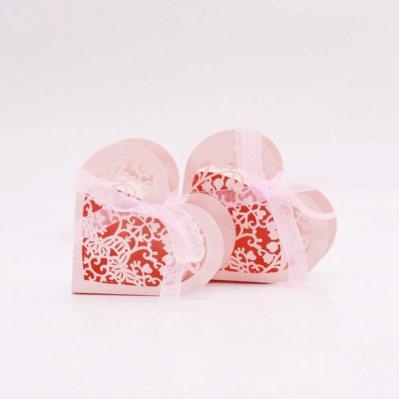 Lot-de-20-Boite-a-Dragees-Coeur-Bonbonniere-en-Papier-Boite-Cadeau-pour-Fet-H9R9 miniature 6