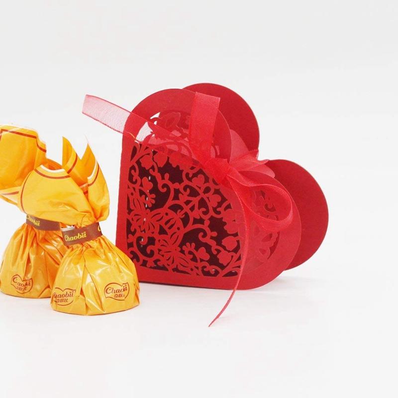 Lot-de-20-Boite-a-Dragees-Coeur-Bonbonniere-en-Papier-Boite-Cadeau-pour-Fet-H9R9 miniature 12