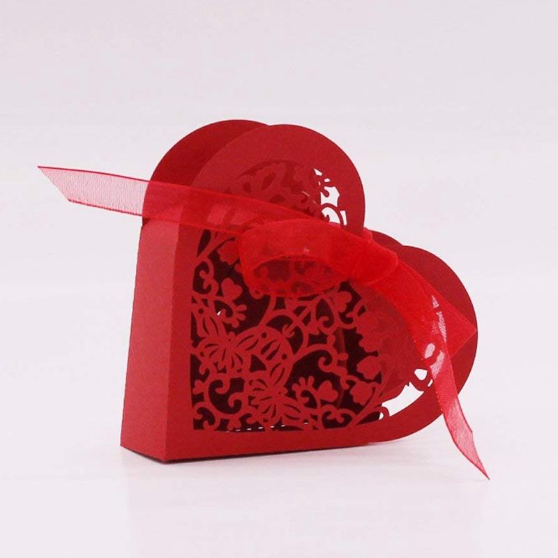 Lot-de-20-Boite-a-Dragees-Coeur-Bonbonniere-en-Papier-Boite-Cadeau-pour-Fet-H9R9 miniature 13