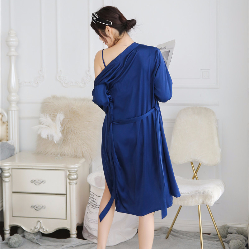 2X-Sexy-Autumn-That-Occupy-The-Home-Women-Silk-Pajamas-Suits-Removable-Bra-F6G7 thumbnail 4