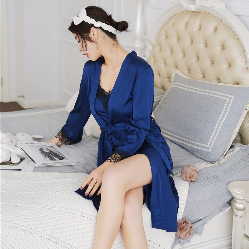 2X-Sexy-Autumn-That-Occupy-The-Home-Women-Silk-Pajamas-Suits-Removable-Bra-F6G7 thumbnail 5