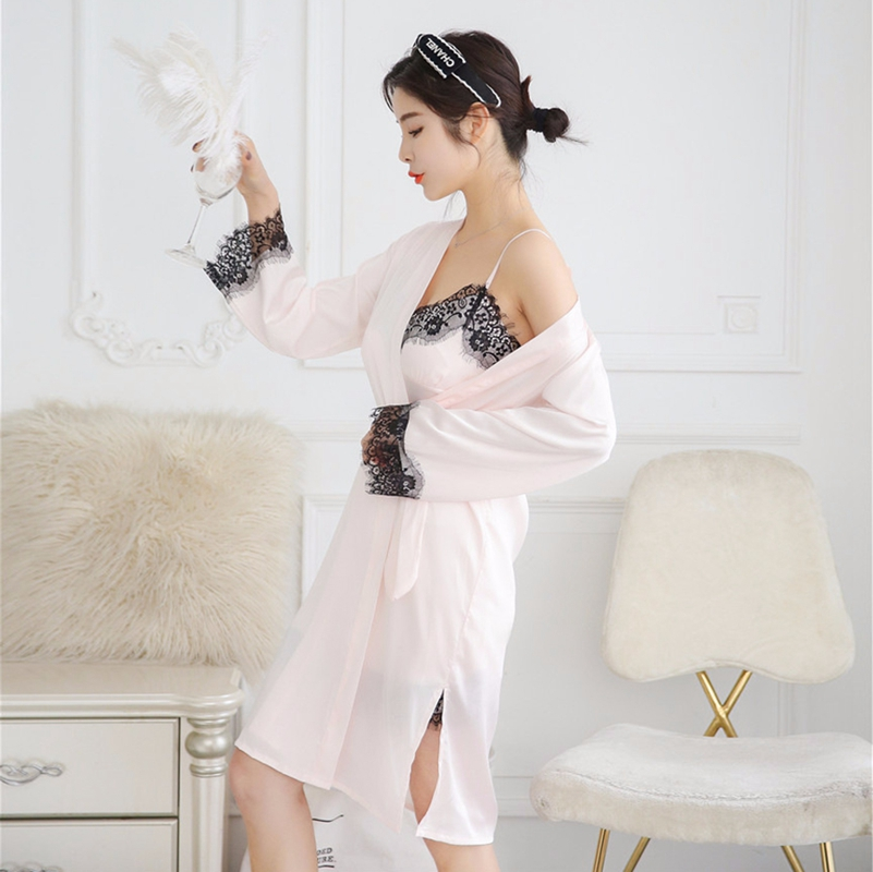 2X-Sexy-Autumn-That-Occupy-The-Home-Women-Silk-Pajamas-Suits-Removable-Bra-F6G7 thumbnail 10
