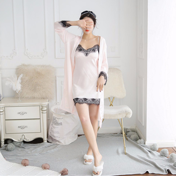 2X-Sexy-Autumn-That-Occupy-The-Home-Women-Silk-Pajamas-Suits-Removable-Bra-F6G7 thumbnail 12