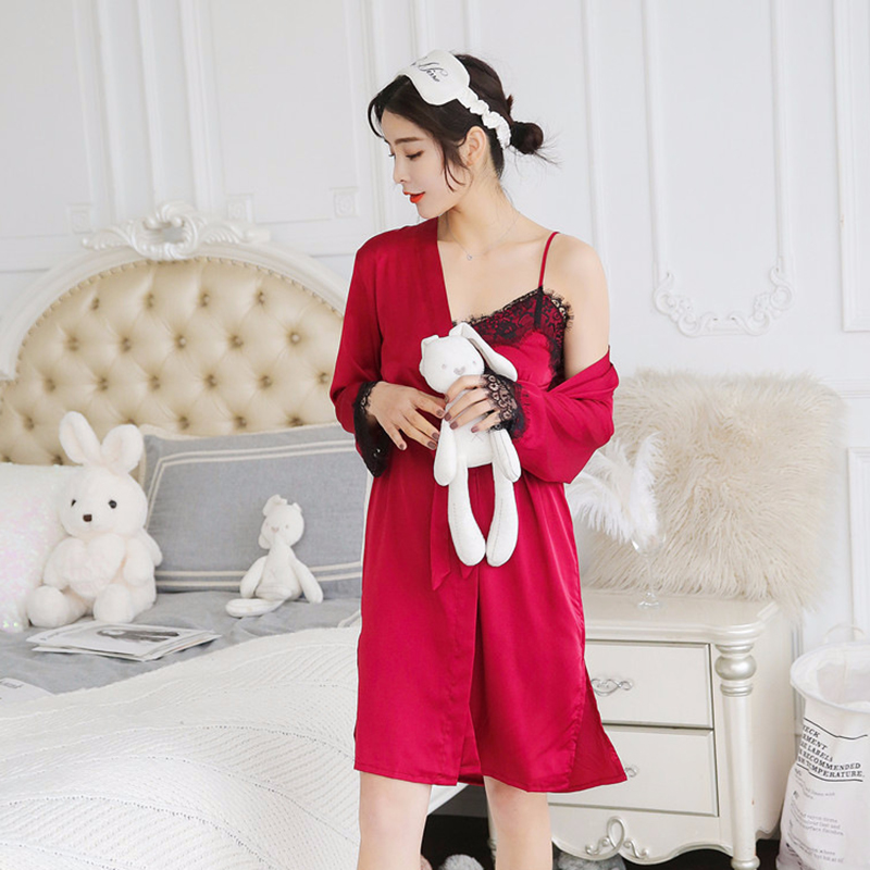 2X-Sexy-Autumn-That-Occupy-The-Home-Women-Silk-Pajamas-Suits-Removable-Bra-F6G7 thumbnail 18
