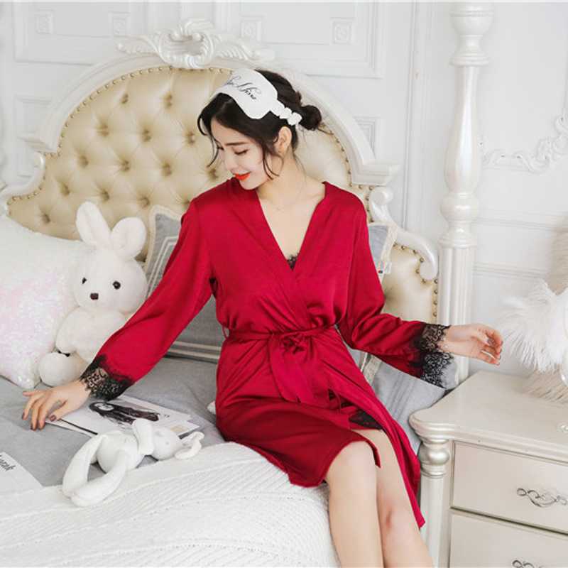 2X-Sexy-Autumn-That-Occupy-The-Home-Women-Silk-Pajamas-Suits-Removable-Bra-F6G7 thumbnail 21