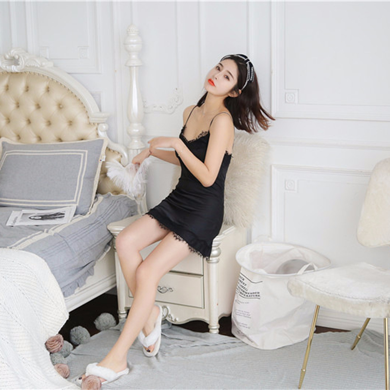 2X-Sexy-Autumn-That-Occupy-The-Home-Women-Silk-Pajamas-Suits-Removable-Bra-F6G7 thumbnail 27