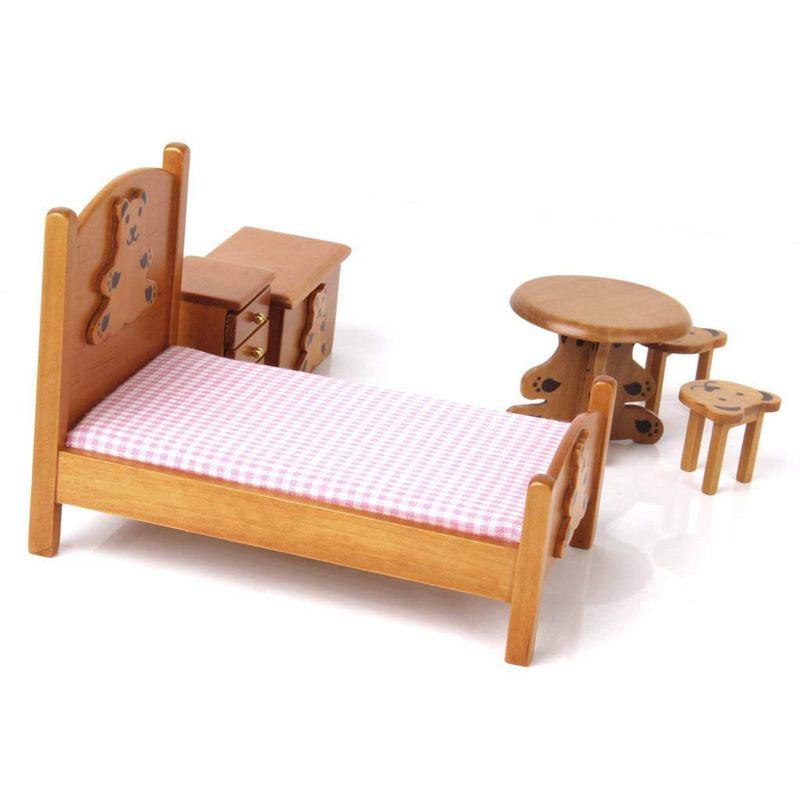 1 12 puppenhaus miniatur moebel fuer kinder holz schlafzimmer holz farbe x9f9 ebay. Black Bedroom Furniture Sets. Home Design Ideas