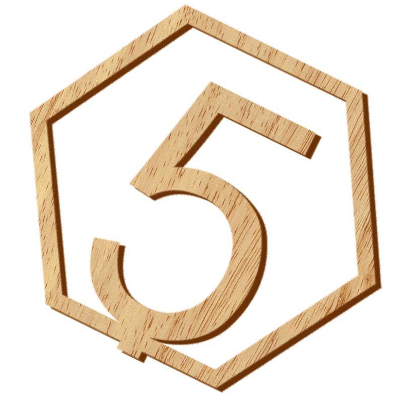 1-20-Numeros-Signo-de-Madera-Numero-de-Mesa-Hexagonal-de-Boda-Numeros-de-Mes-u2O miniatura 2