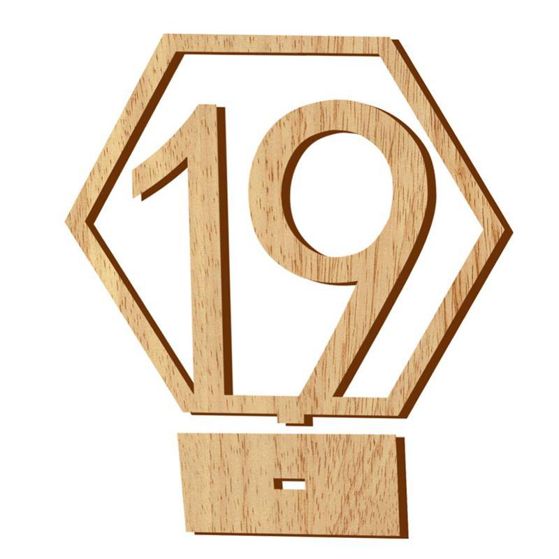 1-20-Numeros-Signo-de-Madera-Numero-de-Mesa-Hexagonal-de-Boda-Numeros-de-Mes-u2O miniatura 3