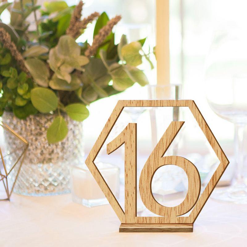 1-20-Numeros-Signo-de-Madera-Numero-de-Mesa-Hexagonal-de-Boda-Numeros-de-Mes-u2O miniatura 5