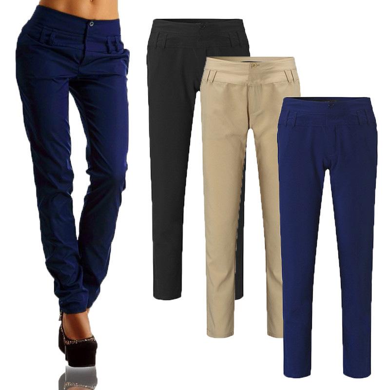 Pantalones-largos-de-senora-de-oficina-de-botones-de-cintura-alta-de-mujer-W2P2 miniatura 5