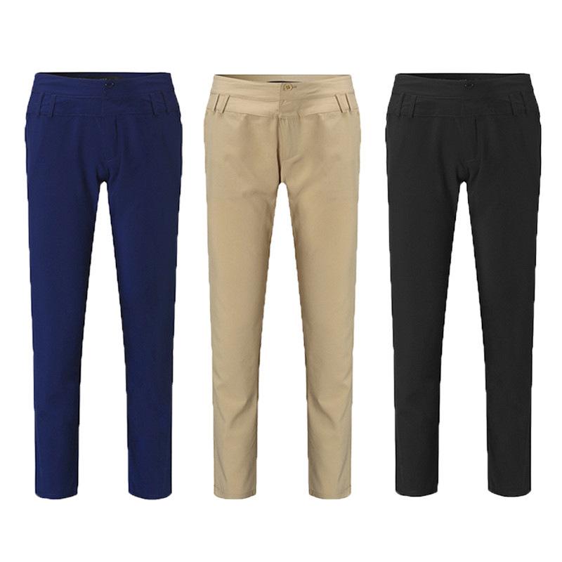 Pantalones-largos-de-senora-de-oficina-de-botones-de-cintura-alta-de-mujer-W2P2 miniatura 6