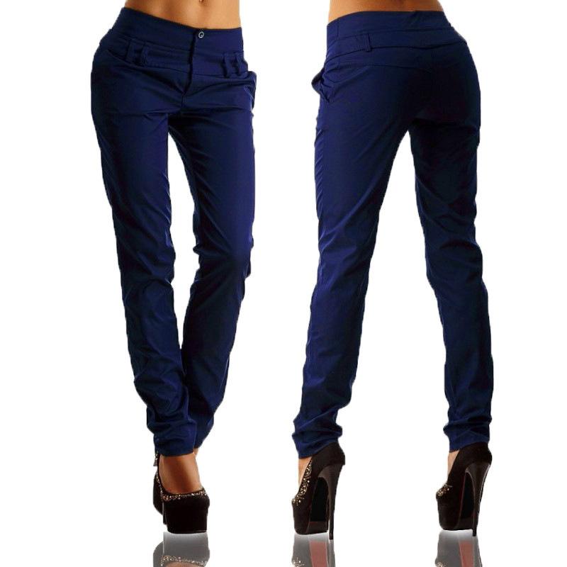 Pantalones-largos-de-senora-de-oficina-de-botones-de-cintura-alta-de-mujer-W2P2 miniatura 10