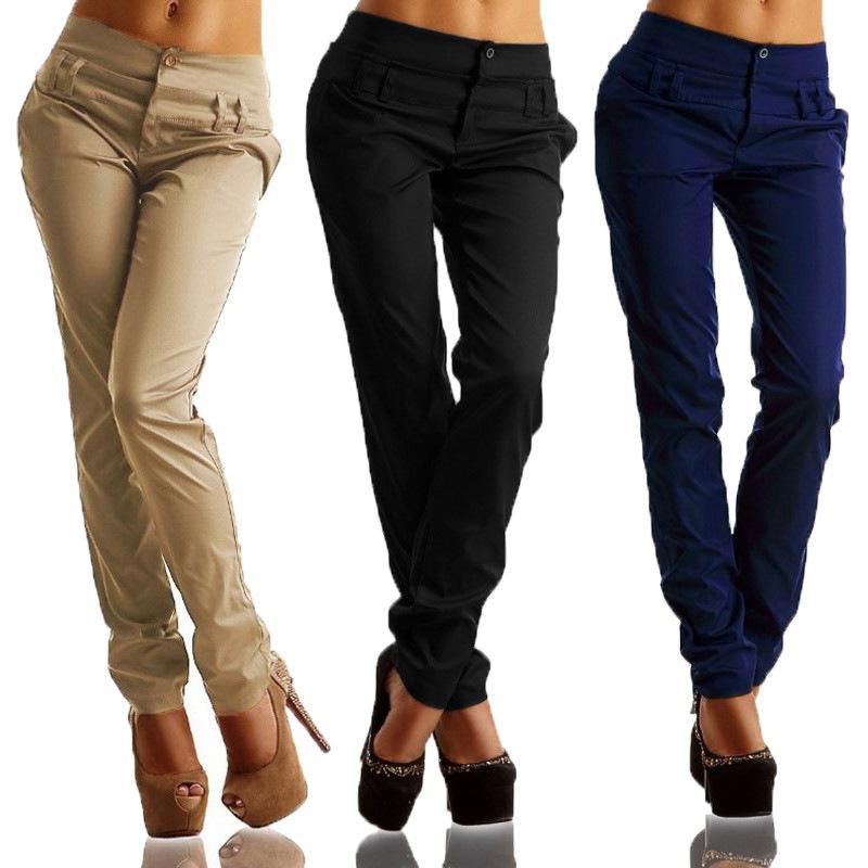 Pantalones-largos-de-senora-de-oficina-de-botones-de-cintura-alta-de-mujer-W2P2 miniatura 14