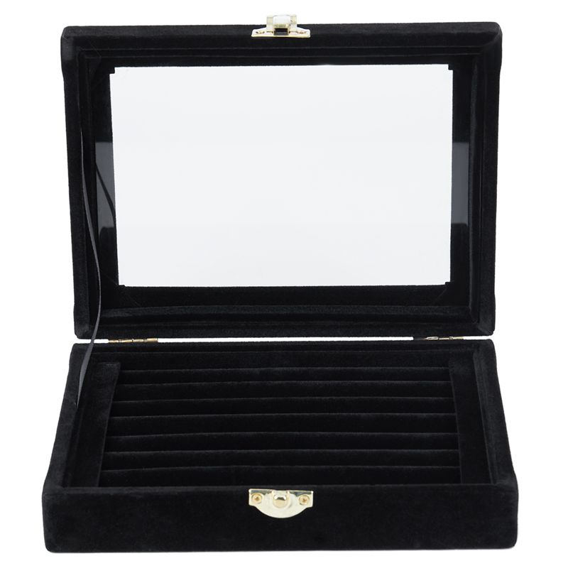 Velvet-Glass-Ring-Earring-Jewelry-Display-Organizer-Box-Tray-Holder-Storage-Case miniature 3