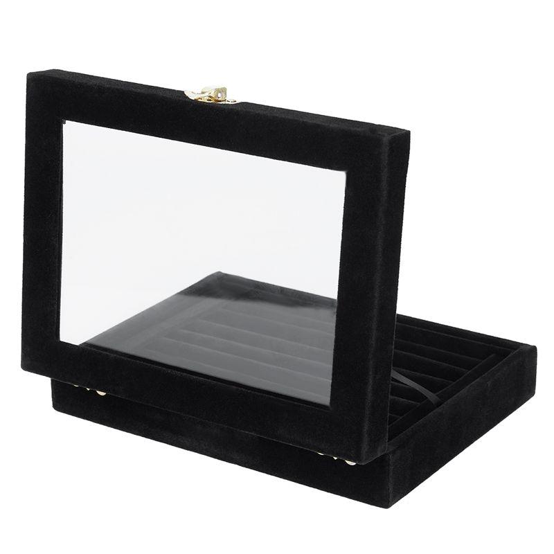Velvet-Glass-Ring-Earring-Jewelry-Display-Organizer-Box-Tray-Holder-Storage-Case miniature 4