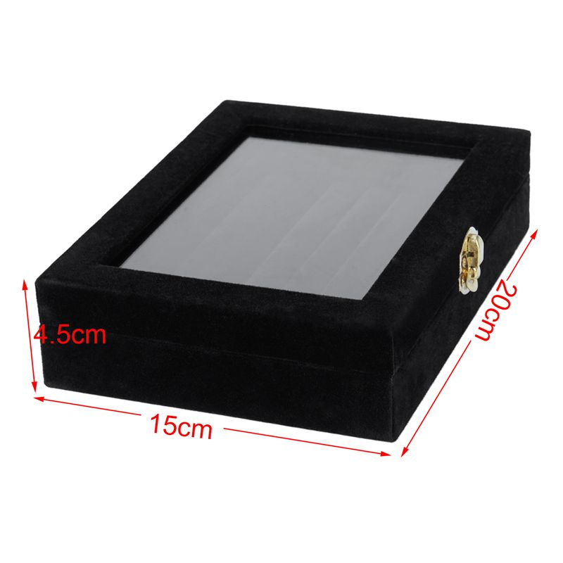 Velvet-Glass-Ring-Earring-Jewelry-Display-Organizer-Box-Tray-Holder-Storage-Case miniature 5