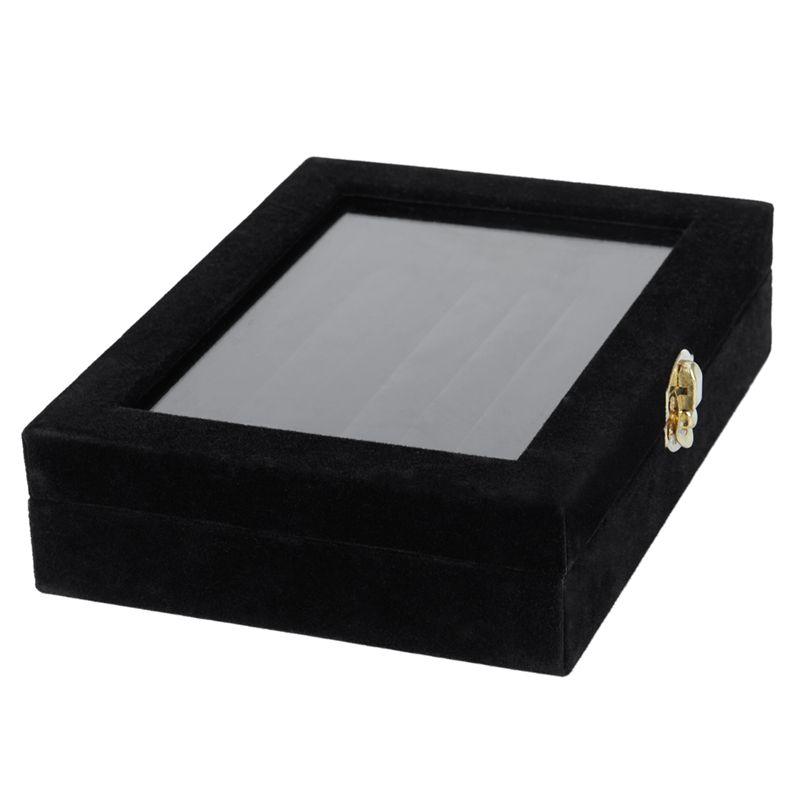 Velvet-Glass-Ring-Earring-Jewelry-Display-Organizer-Box-Tray-Holder-Storage-Case miniature 6