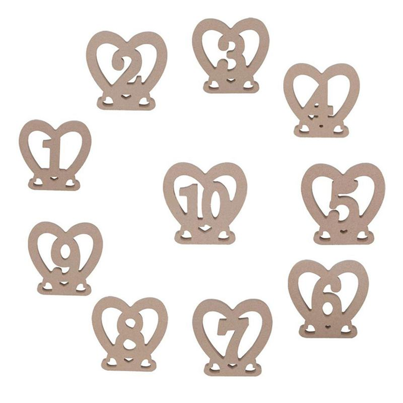 Pcs Heart Table Number Plate Wooden Wedding Party Signs Bar - Restaurant table number signs