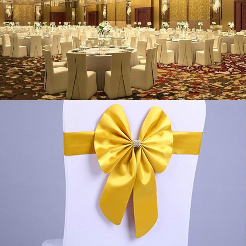 thumbnail 6 - Streamer Ribbon Bow Tie for Chair Backrest Wedding Decoration K7N2