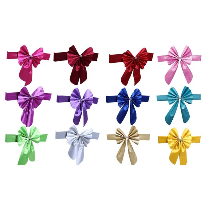thumbnail 7 - Streamer Ribbon Bow Tie for Chair Backrest Wedding Decoration K7N2