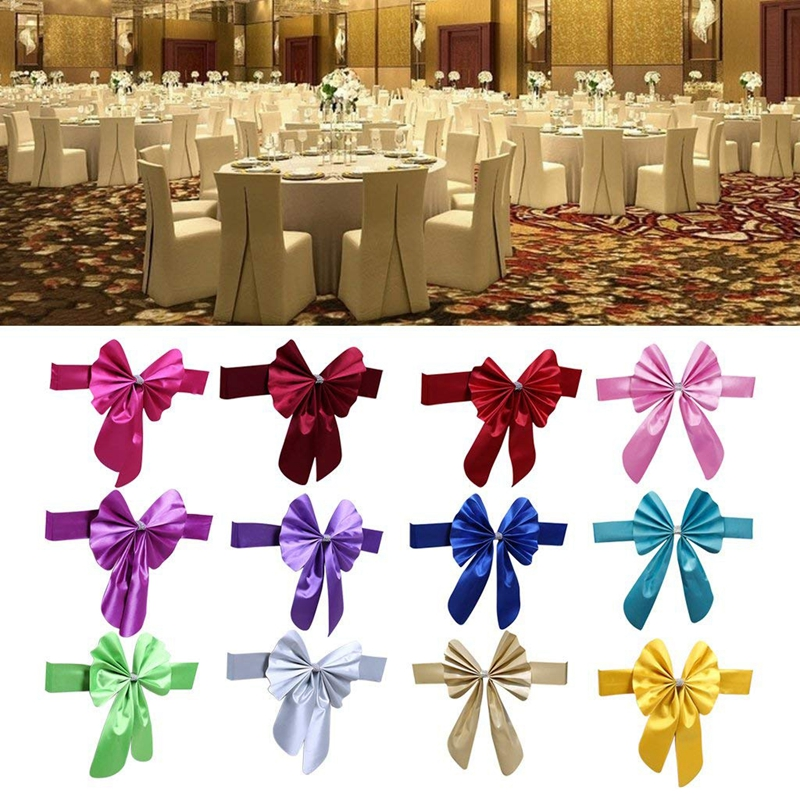 thumbnail 14 - Streamer Ribbon Bow Tie for Chair Backrest Wedding Decoration K7N2