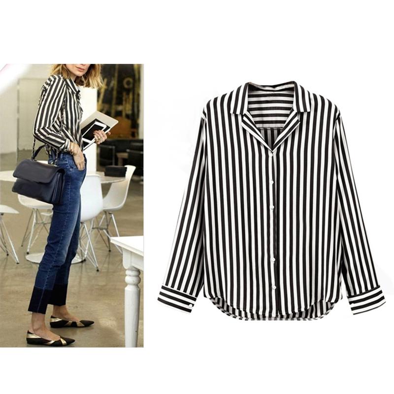 Chaqueta-camisas-a-rayas-de-mujer-de-otono-primavera-Blusa-de-manga-larga-d-C7R7 miniatura 3