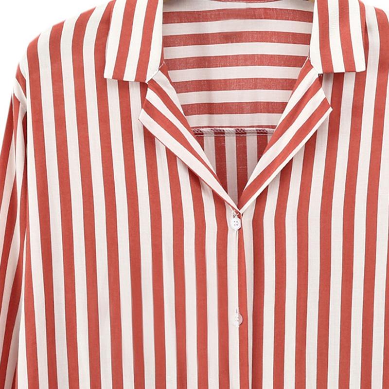 Chaqueta-camisas-a-rayas-de-mujer-de-otono-primavera-Blusa-de-manga-larga-d-C7R7 miniatura 5