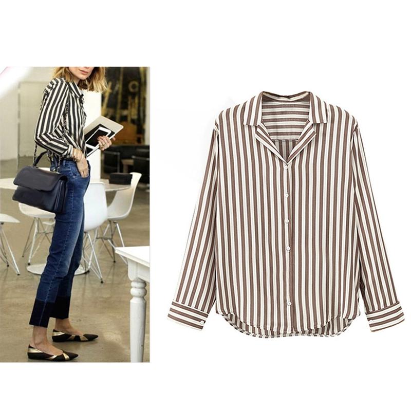 Chaqueta-camisas-a-rayas-de-mujer-de-otono-primavera-Blusa-de-manga-larga-d-C7R7 miniatura 10