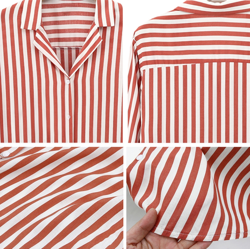 Chaqueta-camisas-a-rayas-de-mujer-de-otono-primavera-Blusa-de-manga-larga-d-C7R7 miniatura 11