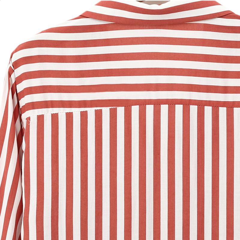 Chaqueta-camisas-a-rayas-de-mujer-de-otono-primavera-Blusa-de-manga-larga-d-C7R7 miniatura 13