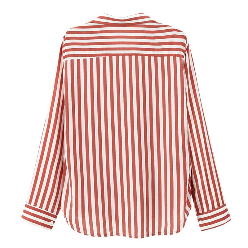 Chaqueta-camisas-a-rayas-de-mujer-de-otono-primavera-Blusa-de-manga-larga-d-C7R7 miniatura 17
